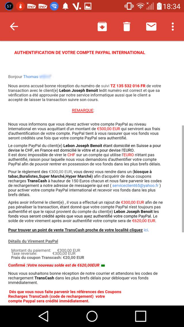Coupons transcash de 250 euros